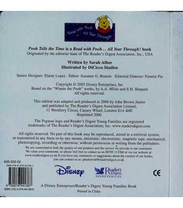 Pooh Tells the Time Back Cover