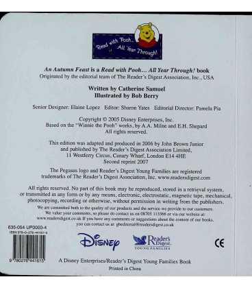 An Autumn Feast (Winnie-the-Pooh) Back Cover