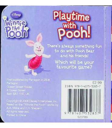 Playtime with Pooh Back Cover