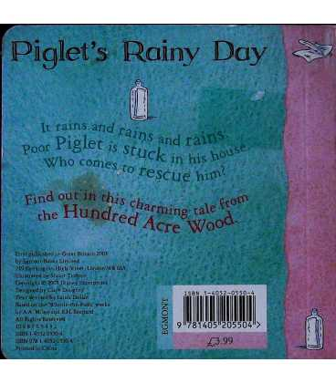 Piglet's Rainy Day Back Cover