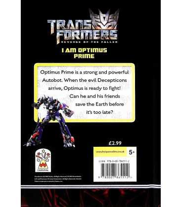 I am Optimus Prime (Transformers Revenge of The Fallen) Back Cover